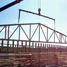 Монтаж деревянной фермы на МЗП большой пролет
