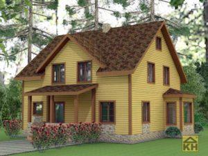 Двухэтажный дом с эркером
