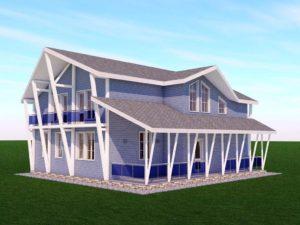 Двухэтажный дом 13х13 м